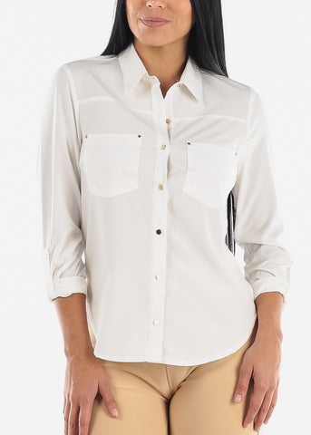 Image of Button Up White Dressy Shirt