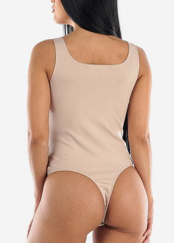 Image of Square Neck Light Beige Bodysuit