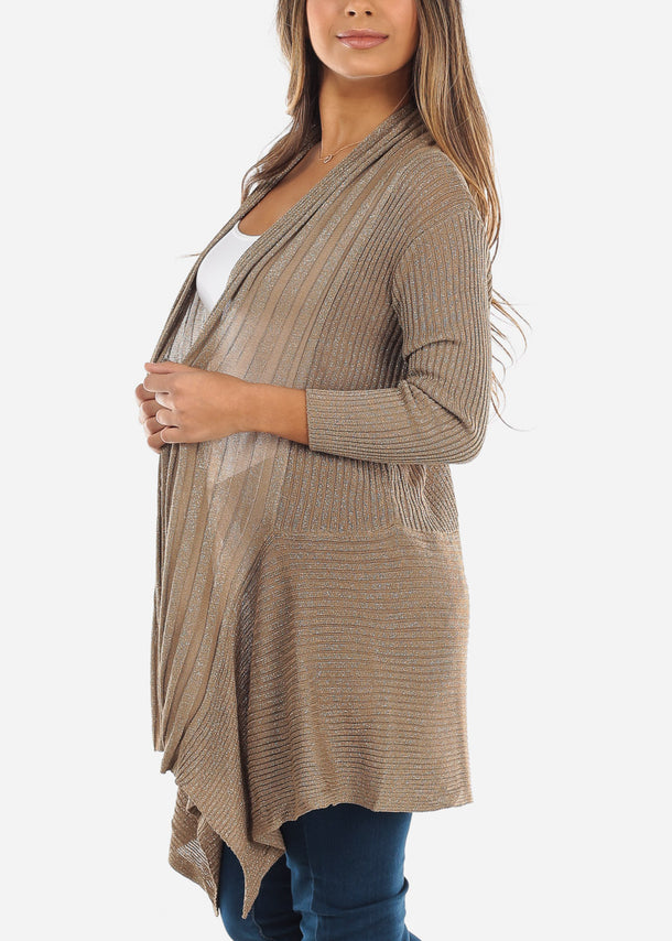 Asymmetric Open Front Metallic Gold Cardigan