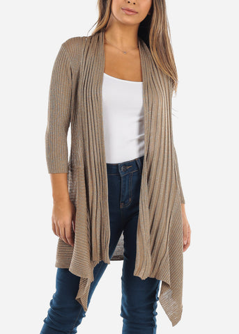 Asymmetric Metallic Gold Cardigan
