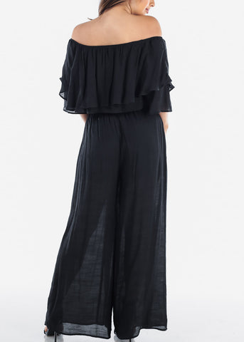 Sexy Lightweight Black Off Shoulder Crop Top And Wide Legged Pants Two Piece Set
