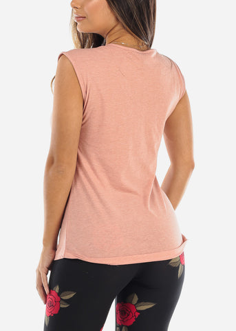 "Sleeveless Graphic Pink Top ""Romantic"""