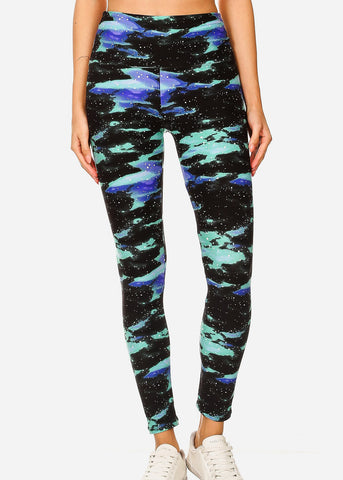Activewear Black & Green Printed Leggings