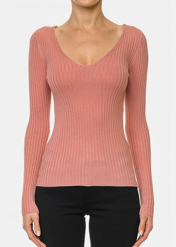Back Lace Up Mauve Sweater