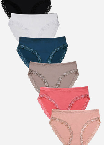 Lace Detail Bikini Panties ( 6 PACK )