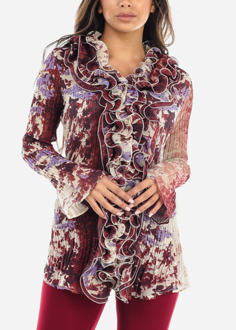 Image of Ruffled Multicolor Pleated Blouse