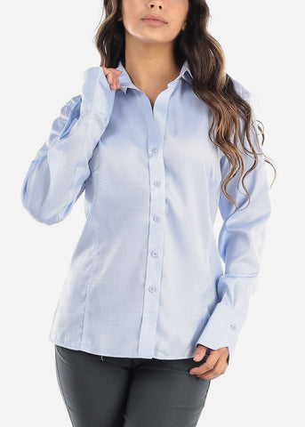 Image of Blue Checkered Button Down Shirt