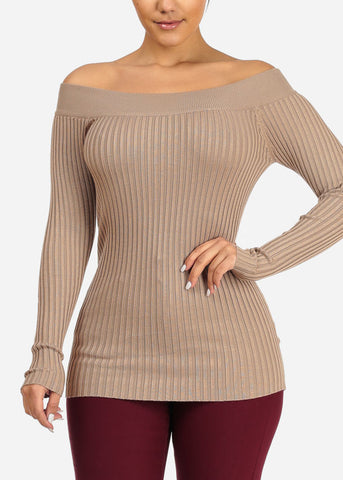 Ribbed Knitted Khaki Top