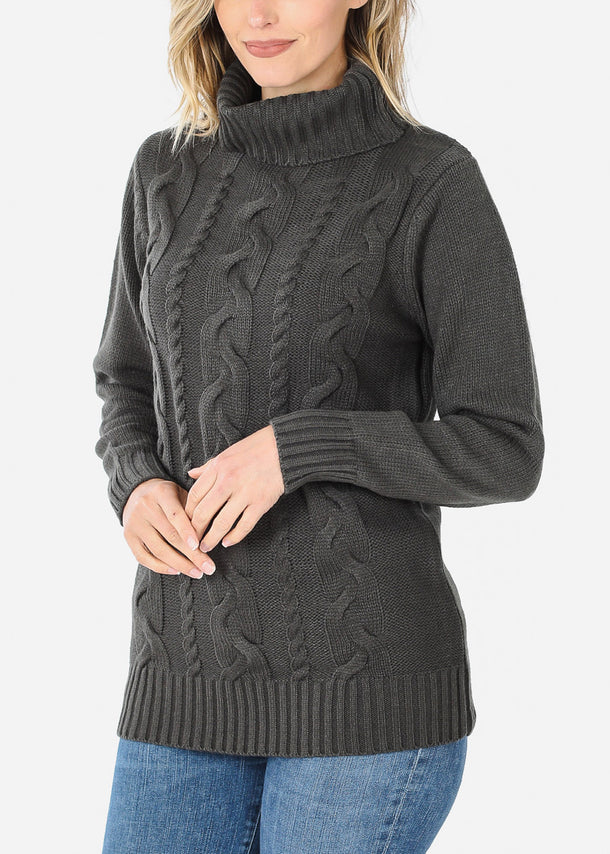 Knit Turtleneck Gray Sweater