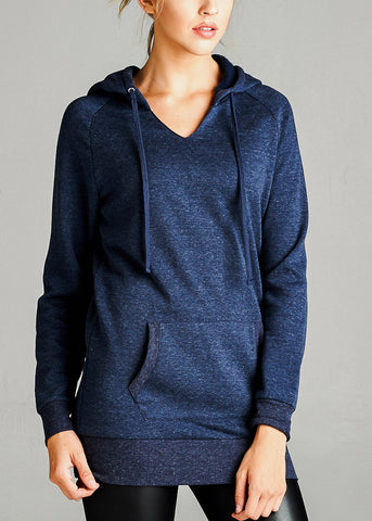 Image of Fleece French Terry Navy Hoodie