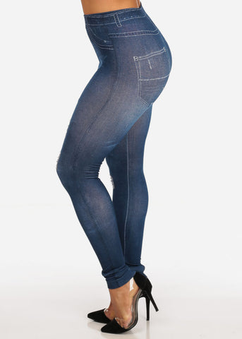 Med Wash Faux Ripped Denim Style Leggings