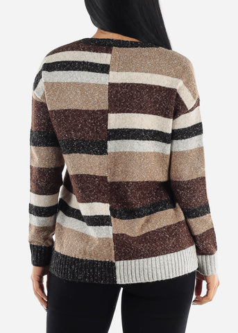 Cozy Knit Stripe Printed Sweater