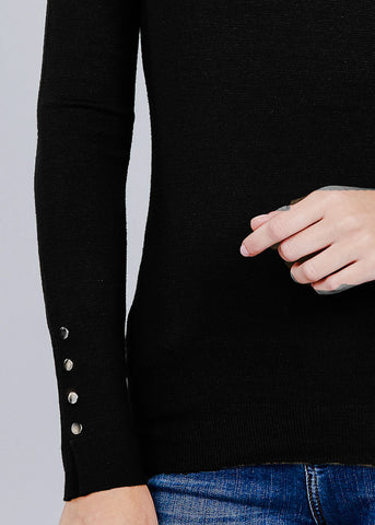 Black V-Neck Long Sleeve Sweater