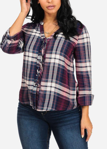 Image of Affordable Burgundy Plaid Print Top