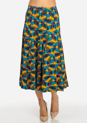Image of High Waist Printed Flare Skirt