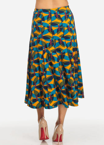 High Waist Printed Flare Skirt