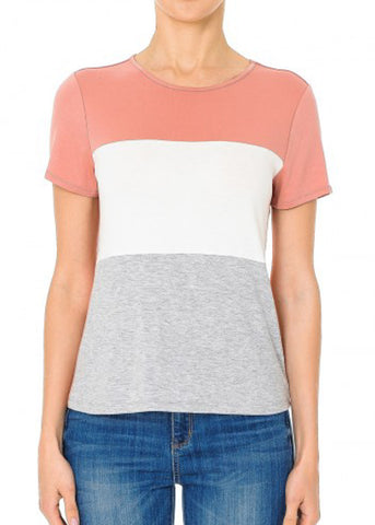 Short Sleeve Mauve Colorblock Top