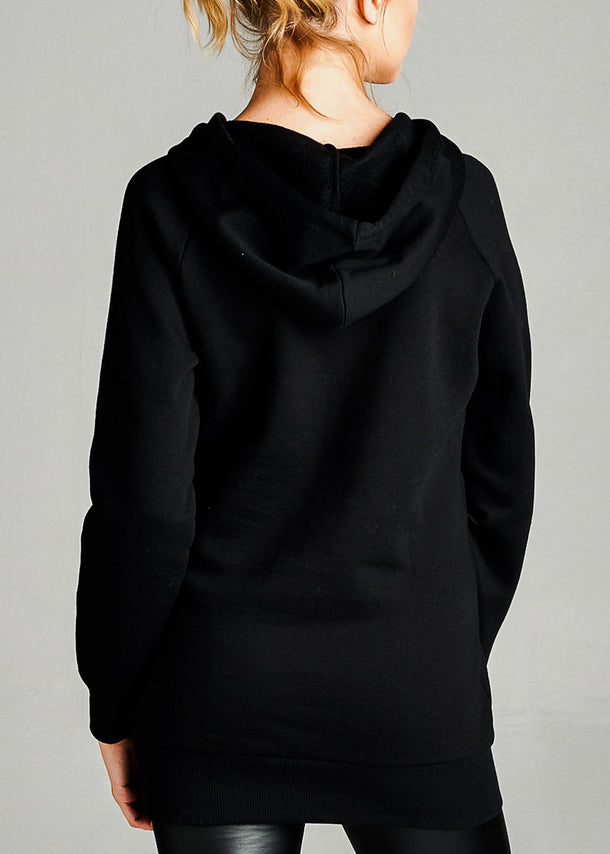 Fleece French Terry Black Hoodie