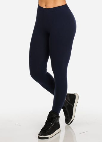 Navy Pull-On Stretchy Slimming Leggings