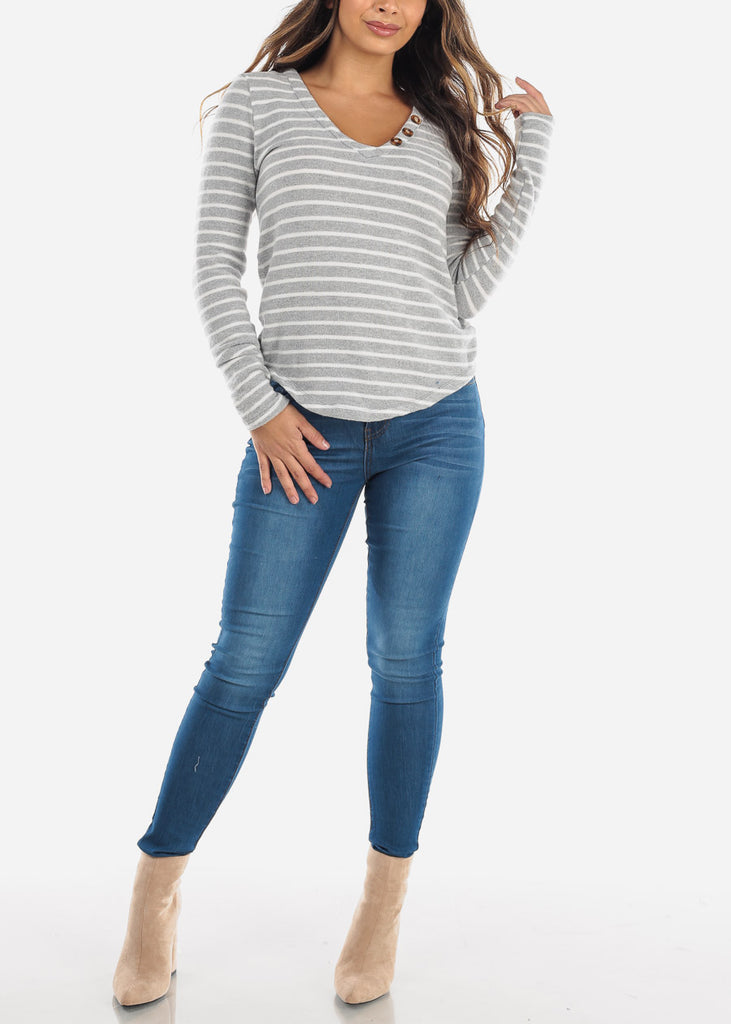 Striped Light Grey Long Sleeve Top