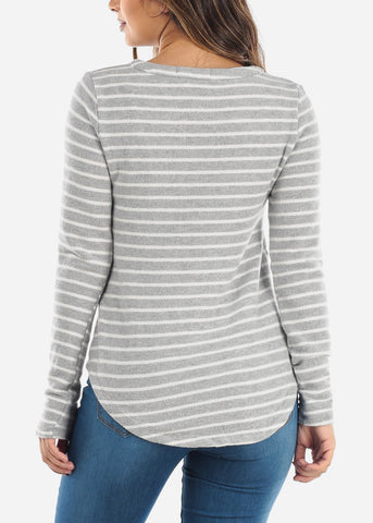 Image of Striped Light Grey Long Sleeve Top