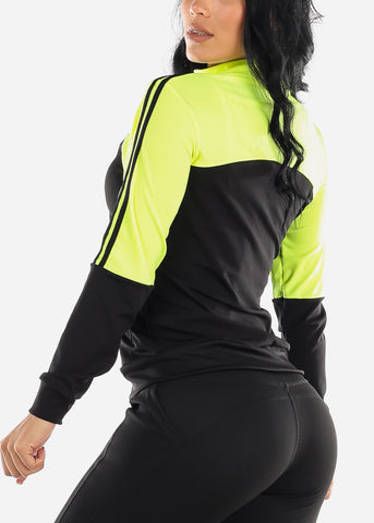 Image of Activewear Colorblock Neon Green Jacket