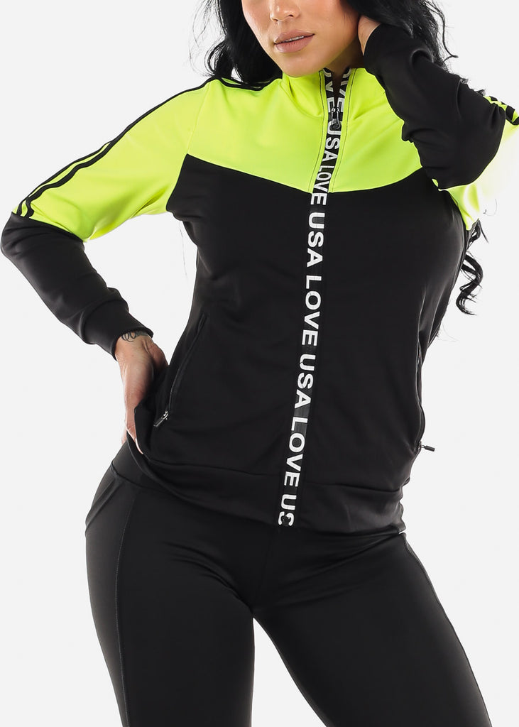 Activewear Colorblock Neon Green Jacket
