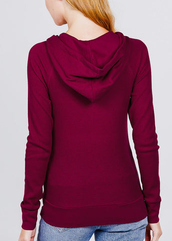 Long Sleeve Burgundy Thermal Hoodie