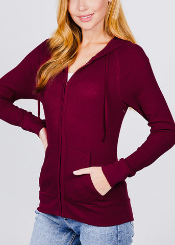 Image of Long Sleeve Burgundy Thermal Hoodie