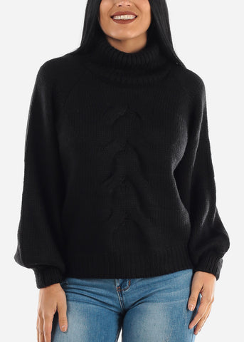 Image of Black Knitted Turtleneck Sweater
