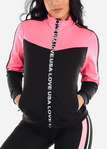 Activewear Colorblock Hot Pink Jacket