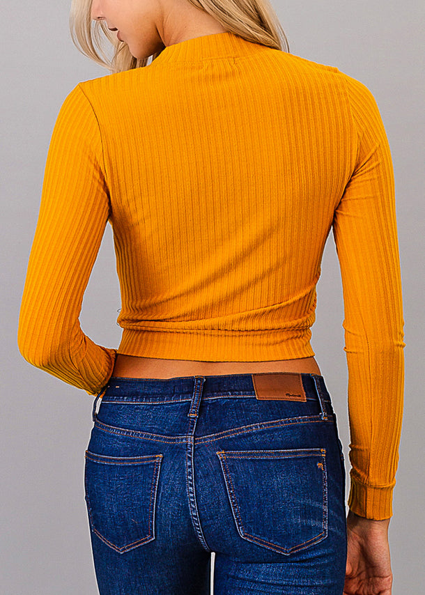 Mustard Zip Up Crop Top