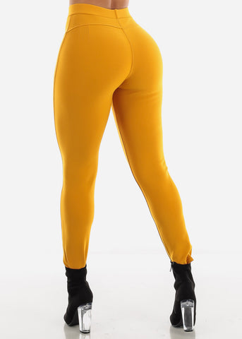 Dressy Butt Lifting Mustard Skinny Pants