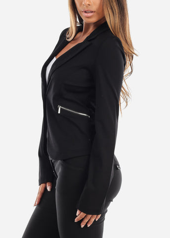 Image of Classic One Button Black Blazer