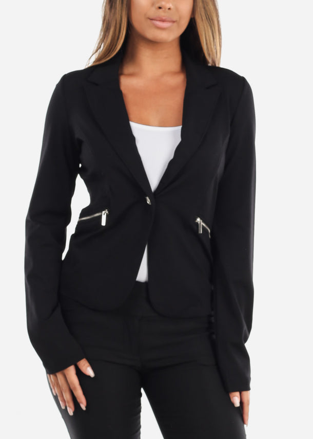 Office Business Wear Long Sleeve Classic 1 Button Black Blazer