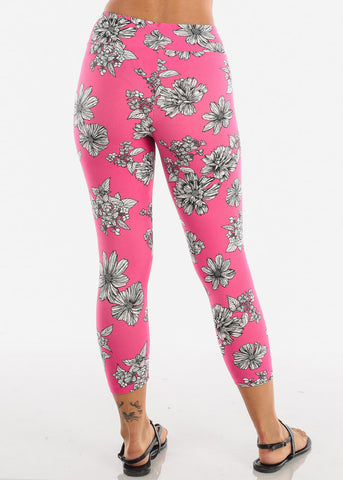 Women's Junior Ladies Cute Comfortable Trendy Pull On High Waisted Pink Flower Print Capri Leggings