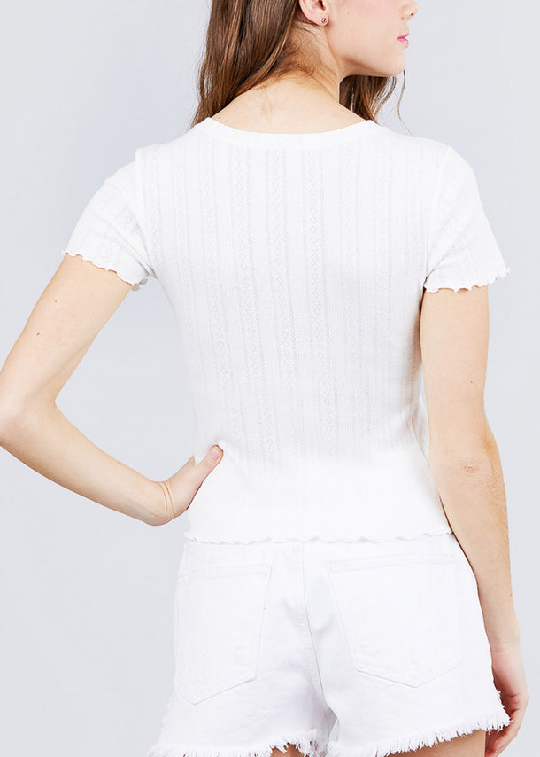 Short Sleeve Pointelle Knit White Top
