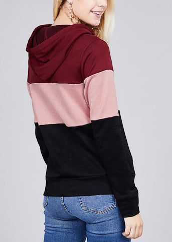 Image of Casual Multicolor Burgundy Stripe Sweater W Hood