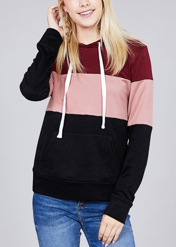 Casual Multicolor Burgundy Stripe Sweater W Hood