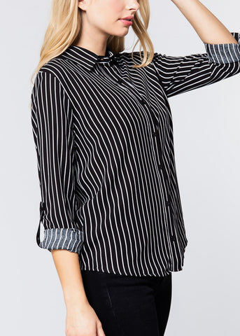 Black & White Stripe Button Down Shirt