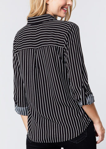 Image of Black & White Stripe Button Down Shirt