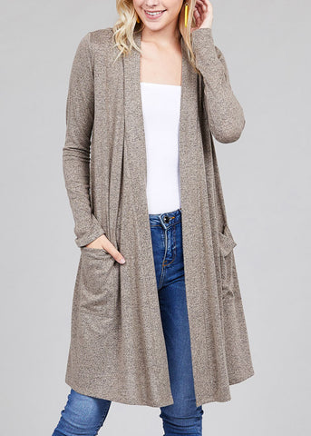 Essential Long Sleeve Open Front Taupe Maxi Cardigan