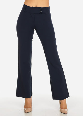 Evening Wear Navy High Waisted 2-Button Straight Leg Pants