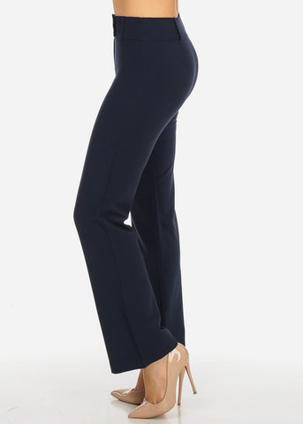 Image of Evening Wear Navy High Waisted 2-Button Straight Leg Pants