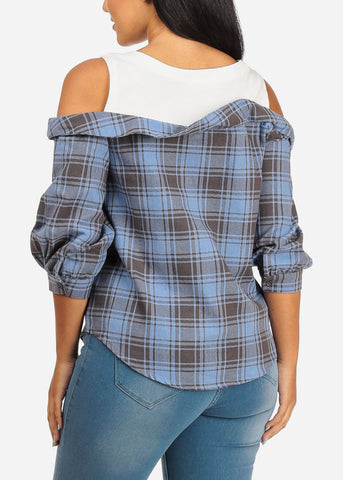 Cold Shoulder Blue Plaid Print Top