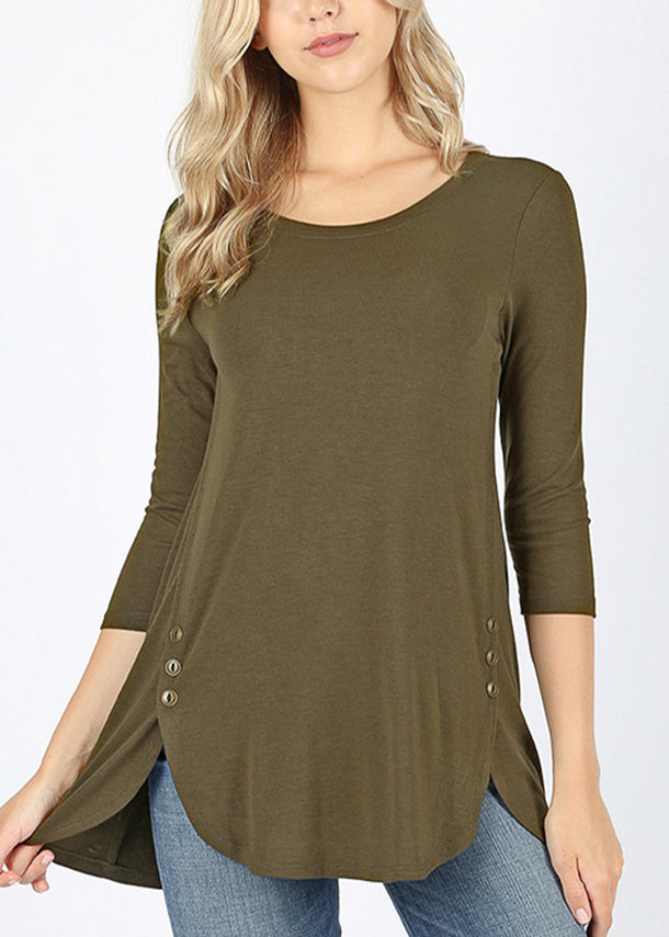 Casual Buttons Front Dark Olive Tunic Top