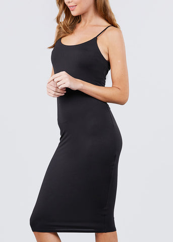Image of Spaghetti Strap Black Bodycon Dress
