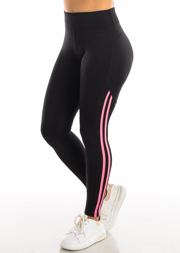 Activewear Pink Side Stripe Black Yoga Pants