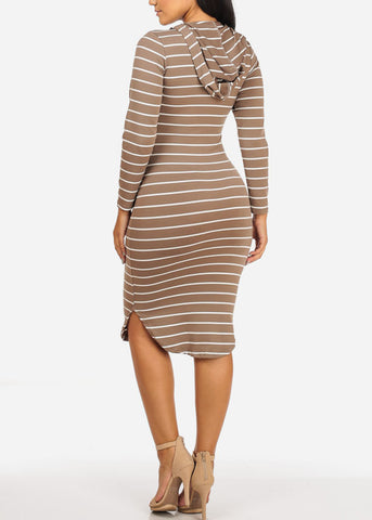 Stripe Bodycon Khaki Dress W Hoodie