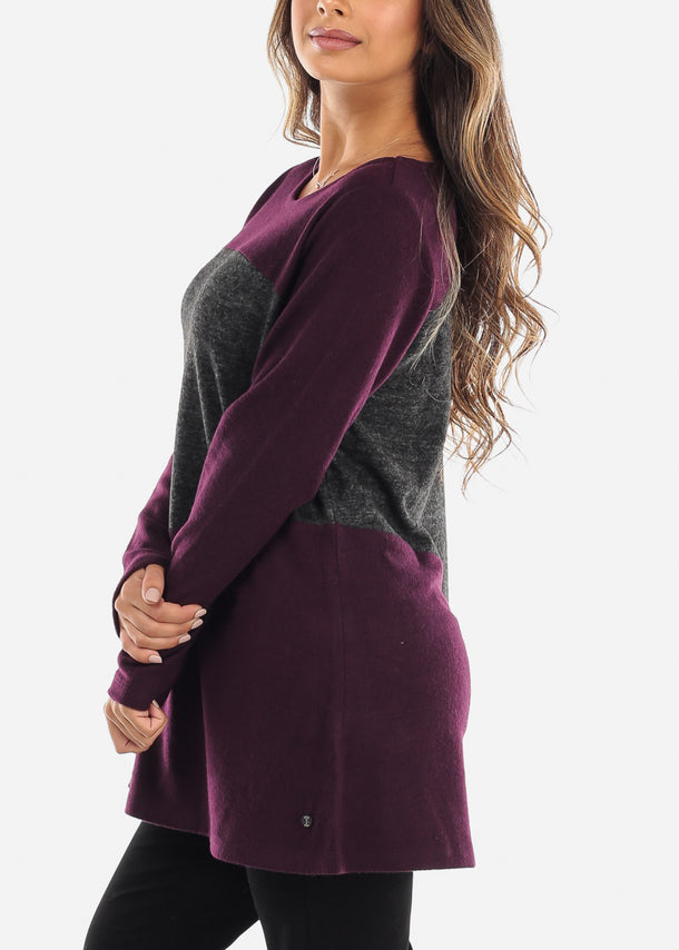 Purple & Grey Long Sleeve Tunic